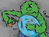 """كاريكاتير صحيفة كويتية.. كورونا سلاح يهدد """"كوكب الأرض"""""""