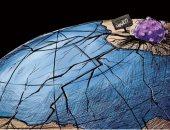 """كاريكاتير صحيفة سعودية.. تفشى """"كورونا"""" حول العالم"""