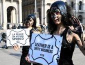 تظاهرات خلال أسبوع الموضة فى ميلانو ضد استخدام جلود الحيوانات فى الصناعة