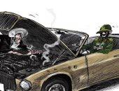 كاريكاتير صحيفة سعودية.. الحرس الثورى يدهس أى حركة إصلاحية