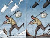 كاريكاتير صحيفة كويتية.. الصواريخ والثلوج تطارد النازحين