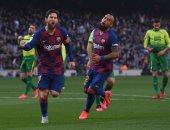 """برشلونة ضد إيبار.. هاتريك ميسي يقود البارسا للتقدم بثلاثية في الشوط الأول """"فيديو"""""""
