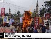 مظاهرات فى الهند إحتجاجا على زيارة ترامب