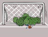 كاريكاتير صحيفة كويتية.. كورونا يقتل كرة القدم
