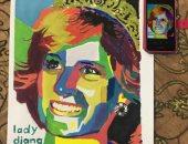 يمنى تشارك بلوحاتها الفنية لإبراز موهبتها فى الرسم