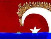 كاريكاتير صحيفة إماراتية..تصاعد أزمة المهاجرين على الحدود اليونانية التركية