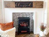الديكور فن.. 5 تصميمات مختلفة لمدفأة الصالون بالخشب والطوب الأبيض