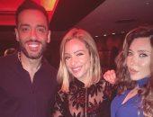 رامي جمال وزوجته يحتفلان بالألبوم الجديد مع ريم البارودى وإيمان العاصى