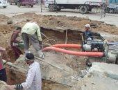 إصلاح الهبوط الأرضي بشارع النيل في السويس والسكريتر العام يجري جولة تفقدية