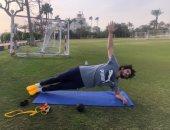 شاهد.. أحمد حجازى يحافظ على لياقته البدنية بتدريبات فردية