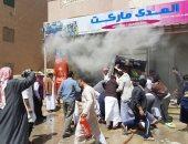إخماد حريق نشب فى أحد المحلات بمدينة الضبعة بمطروح.. صور