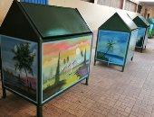 شاهد.. لوحات فنية على صناديق القمامة بأيدى طلاب المدارس فى أسيوط