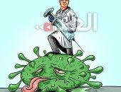 كاريكاتير صحيفة اردنية.. العلم هو السلاح القادر على توجيه ضربة قاضية لكورونا