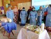صور.. تدريب التمريض بمستشفيات جامعة المنصورة على التعامل مع مصابى كورونا