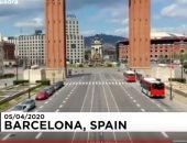 شاهد.. شوارع برشلونة الإسبانية شبه خالية بسبب إجراءات الحجر الصحى