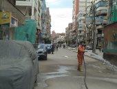 رش شوارع مدن محافظة كفر الشيخ والمناطق العشوائية وإزالة التعديات