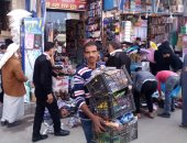 إزالة الإشغالات والباعة الجائلين من على الأرصفة بوسط مدينة مطروح