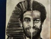 """صلاح وتامر حسنى وسمعة.. لوحات تبرز موهبة """"أحمد"""" فى الرسم"""