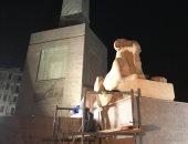 انتهاء عملية نقل الكباش الأربعة إلى ميدان التحرير بعد ترميمها.. صور