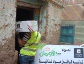 توزيع 1050 كرتونة مواد غذائية على الأسر الأولى بالرعاية فى أسوان