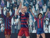 شاهد.. 3 نجوم من برشلونة صفقت لهم جماهير ريال مدريد بالبرنابيو