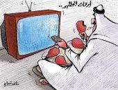 كاريكاتير صحيفة كويتية.. تناول الطعام بكثرة خلال أوقات الحظر يؤدى للسمنة