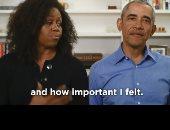 باراك أوباما وزوجته يقرآن من كتاب للأطفال فى بث مباشر.. فيديو