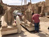 أكبر خطة لإنقاذ وترميم 29 تمثالا للكباش داخل معابد الكرنك.. صور