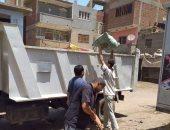 رفع 18 طن تجمعات قمامة خلال حملات مكبرة بقرة مركز الباجور فى المنوفية