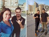 أبو هشيمة وياسمين صبرى فى جولة قبل الإفطار على كورنيش الإسكندرية.. صور