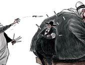 كاريكاتير صحيفة سعودية.. النظام الملالى يصوب سكاكينه للمنطقة وشماتة إسرائيلية