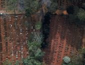 صور جوية لصفوف المقابر الجماعية فى البرازيل عقب ازدياد موتى كورونا
