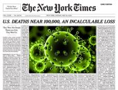"""نيويورك تايمز تنشر أسماء 100 ألف متوفى بـ""""كورونا"""" بالصفحة الأولى تخليدًا لذكراهم"""