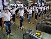 """الشرطة الفلبينية تبتكر تدريبات جديدة لتطبيق """"التباعد الاجتماعى"""" بالقطارات"""