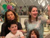 أصالة تحتفل بعيد ميلاد توأمها على وأدم فى المنزل.. فيديو وصور