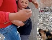 شابان يعتديان على طفل من ذوى الاحتياجات الخاصة بكلب بوليسى.. فيديو