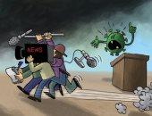 كاريكاتير صحيفة إماراتية.. الاعلام سلط الضوء على مظاهرات أمريكا وتجاهل كورونا