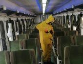 صور.. السكة الحديد تواصل أعمال تعقيم المحطات والقطارات للوقاية من كورونا