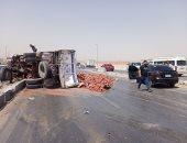 إصابة 13 شخصا فى حادث انقلاب سيارة بالطريق الإقليمى بالشرقية