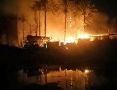 انتداب المعمل الجنائى لمعاينة حريق سوق السيراميك فى المرج