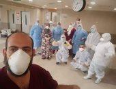 خروج 6 متعافين من كورونا بمستشفى النيل للتأمين الصحى فى شبرا الخيمة