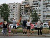 انهيار جزئ بمبنى سكنى بالعاصمة الأوكرانية كييف بسبب انفجار غاز.. صور
