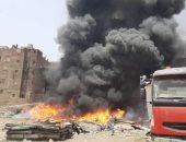 الدفع ب4 سيارات للسيطرة على حريق فى شبرا الخيمة
