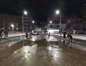 شباب قرية سلامون القماش بالمنصورة يطهرون الشوارع ضد فيروس كورونا