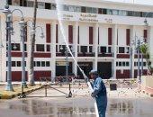 صور.. إجراءات احترازية باستاد الإسكندرية استعدادا لعودة النشاط الرياضى