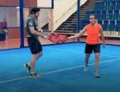 """ولى عهد دبى يستعرض مهاراته فى لعبة التنس.. """"فيديو"""""""