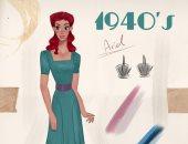 أميرات من زمن فات.. فنان يتخيل شكل فتيات ديزنى بإطلالات من 1910 لـ2000