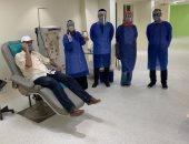 صور.. توافد المتعافين على بنك الدم فى طنطا للتبرع بالبلازما لمصابى كورونا