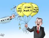"""ثورة 30 يونيو تقضى على أحلام أردوغان بالهيمنة والخلافة.. بكاريكاتير """"اليوم السابع"""""""