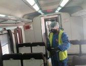 السكة الحديد تواصل أعمال تعقيم المحطات والقطارات ضد كورونا